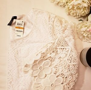 NWT Dress👗Alfani Crocheted Lace Floral White